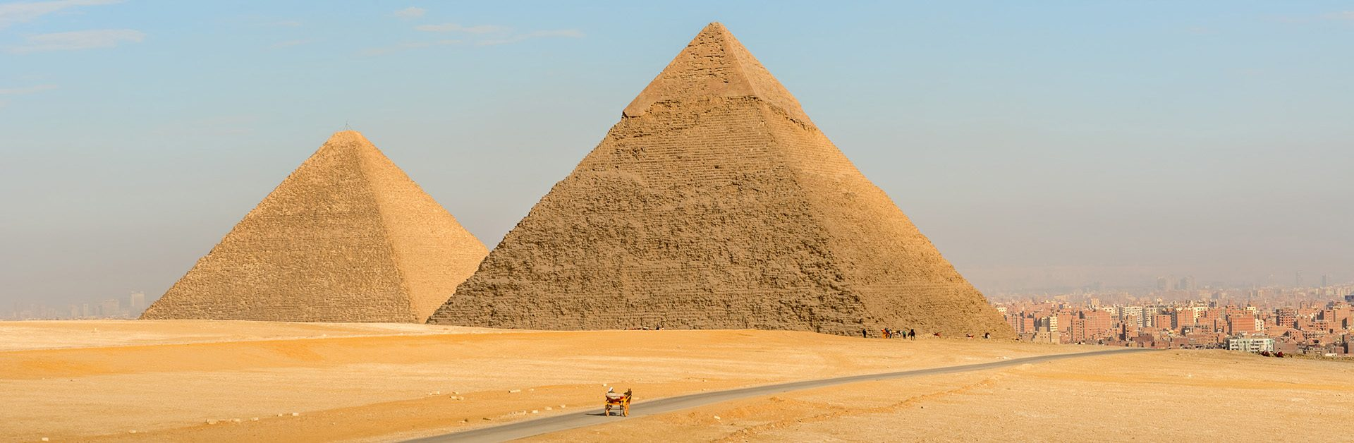 Landscape view at the  Pyramids of Giza and Cairo at the background